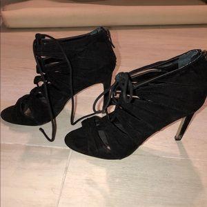 BCBG Strappy Black Suede Heels 7.5